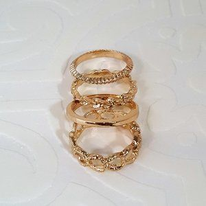 FASHION GOLD TONE STACK RING SET